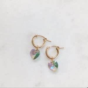 14k gold filled crystal jelly heart huggie hoops